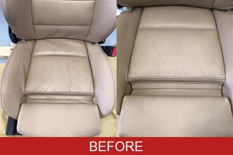 Leather restoration showing before